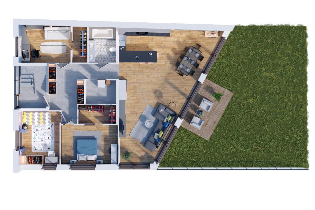 Rzut 3D domu wielorodzinnego