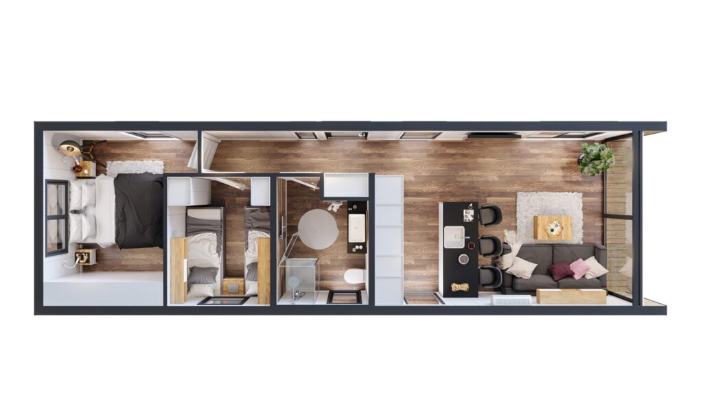 Rzut 3D domku letniskowego