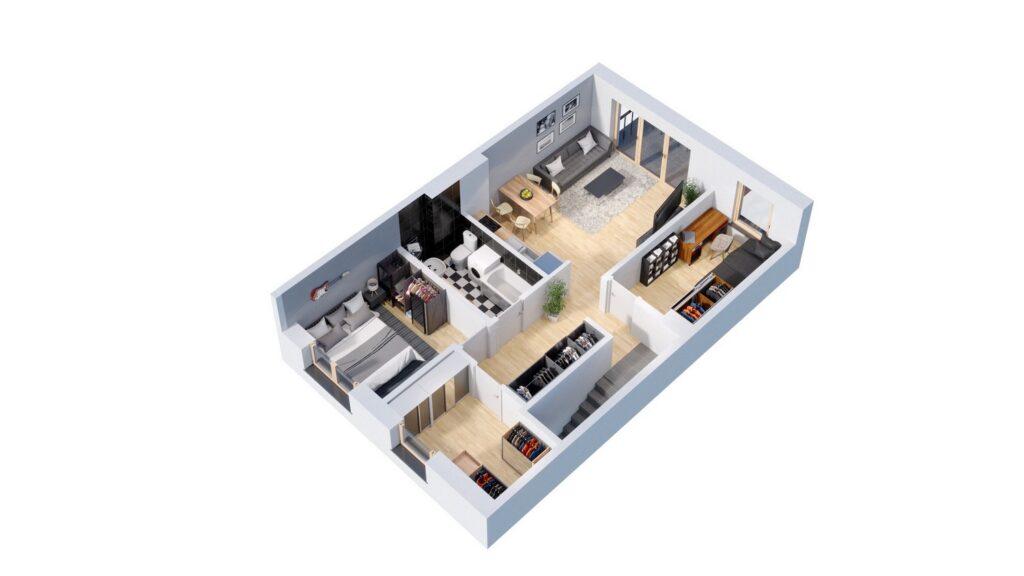 Rzut 3D domu szeregowego
