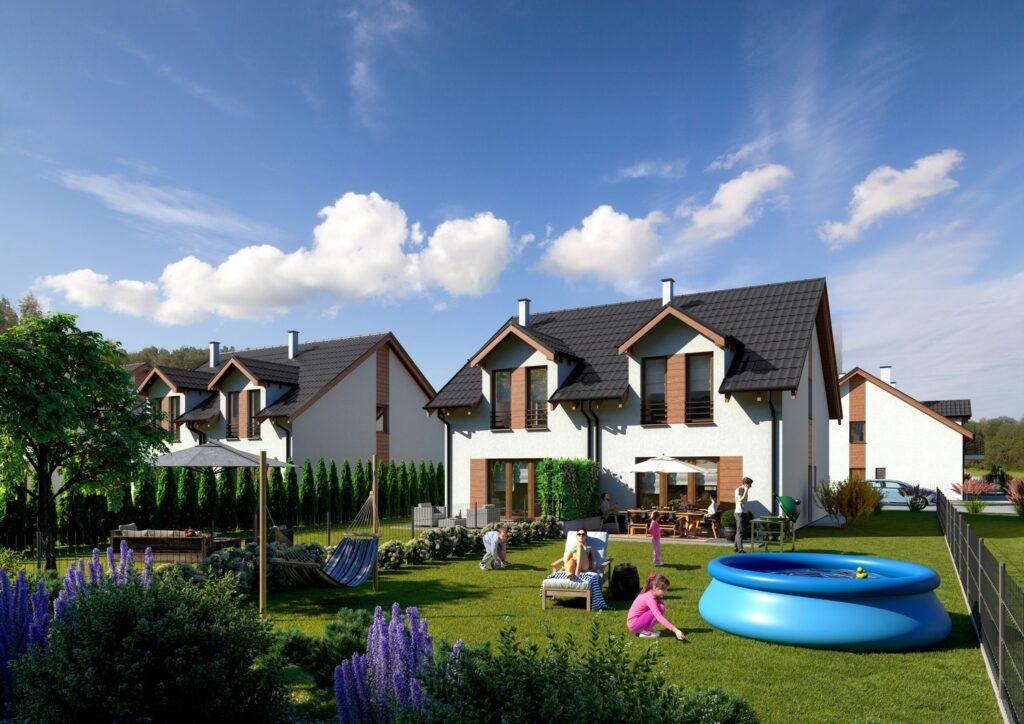 Wizualizacja architektoniczna osiedla domów jednorodzinnych