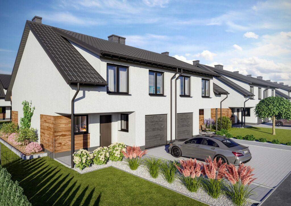 Wizualizacja architektoniczna osiedla domów bliźniaczych