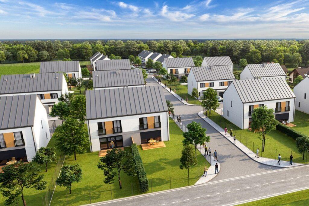 """Wizualizacja architektoniczna osiedla domów """"bliźniaków"""""""