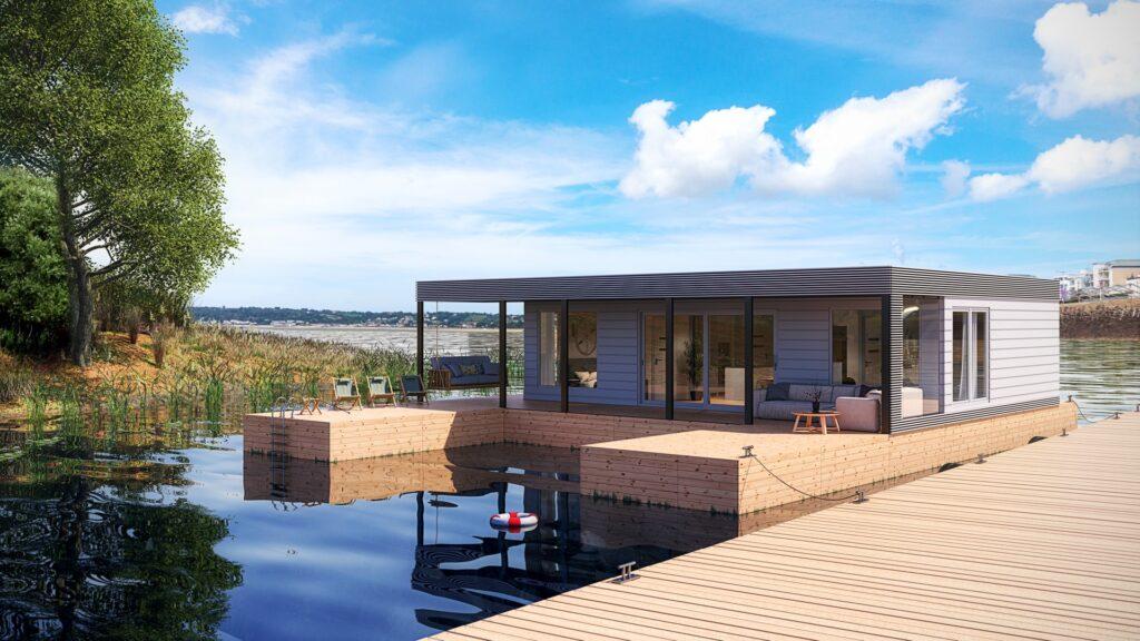 Wizualizacja domu pływającego na wodzie