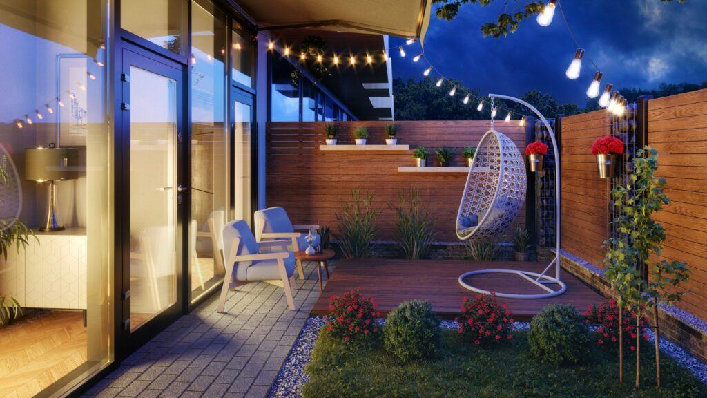 Wizualizacja ogródka przy mieszkaniu