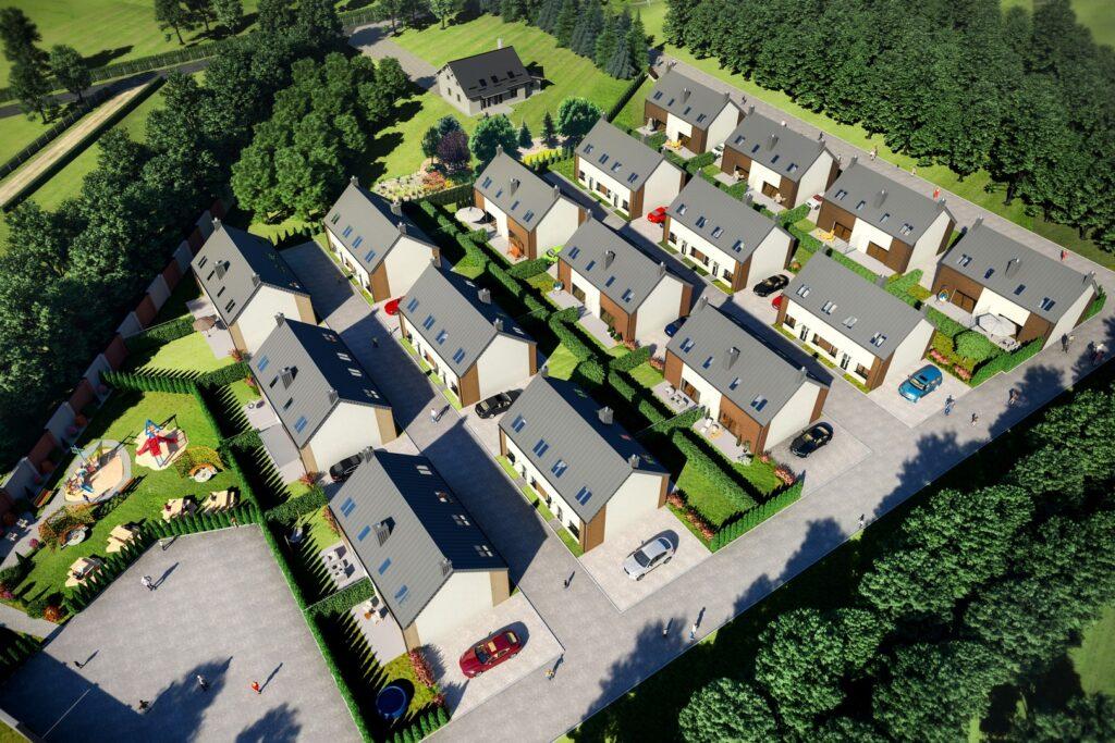 Wizualizacja osiedla domów jednorodzinnych