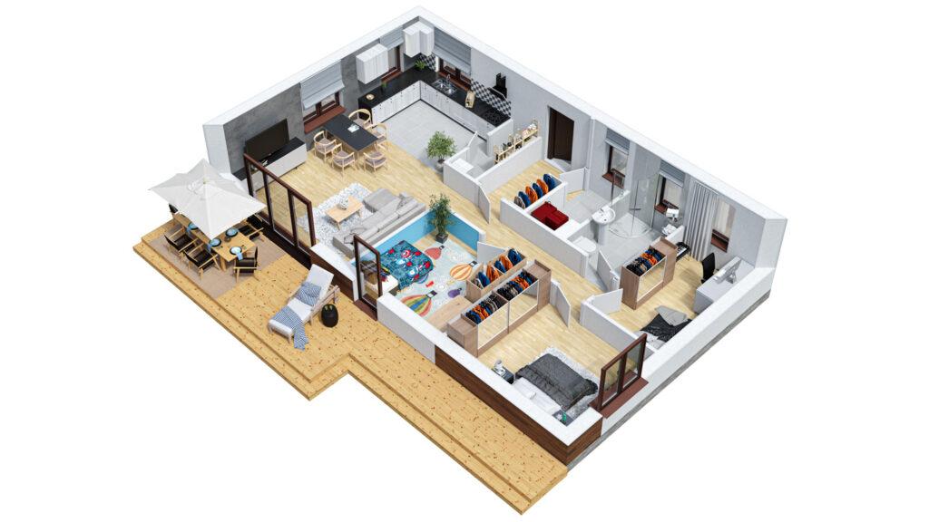 Rzut 3D domu jednorodzinnego parterowego