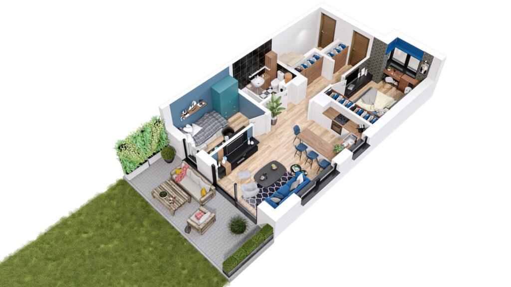 Rzut 3D domu jednorodzinnego