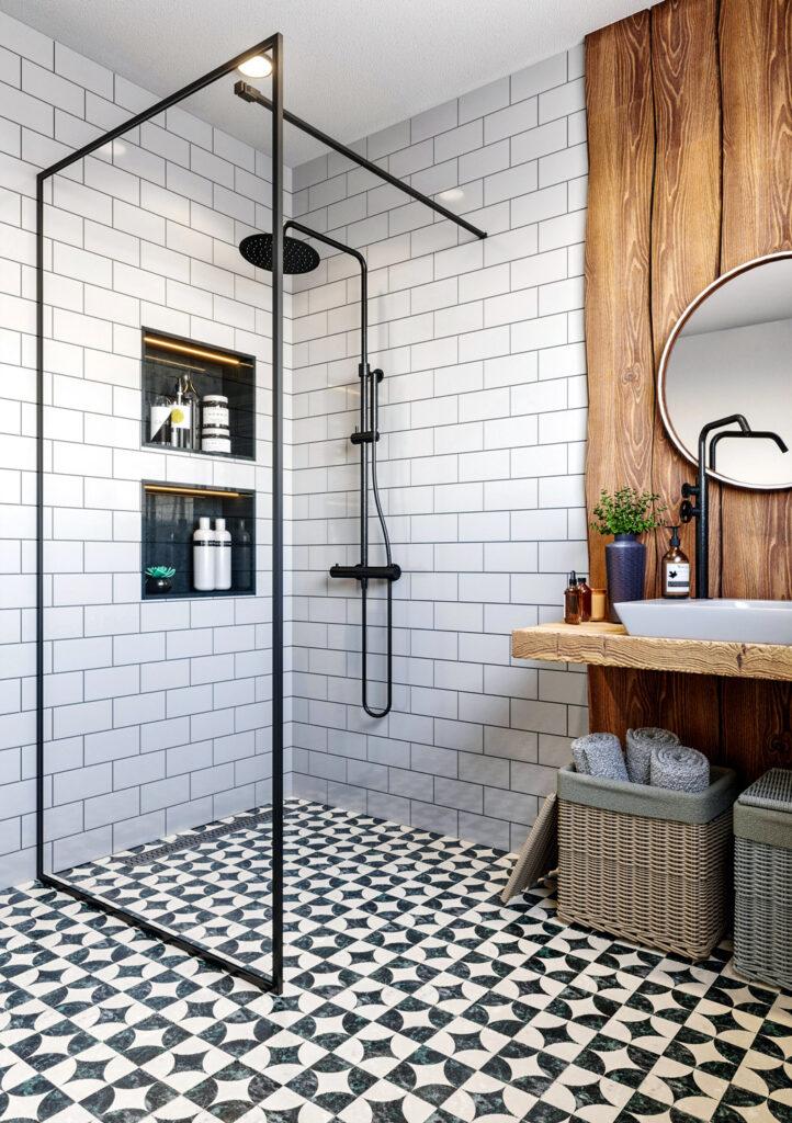 Wizualizacja systemu zabudowy kabiny prysznicowej
