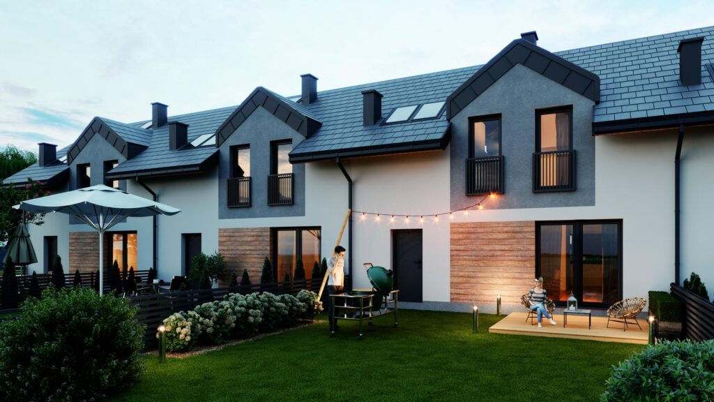 Wizualizacje architektoniczne osiedla domów szeregowych