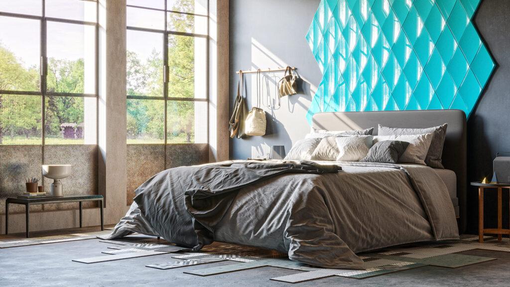 Wizualizacja wnętrza sypialni z panelem ściennym